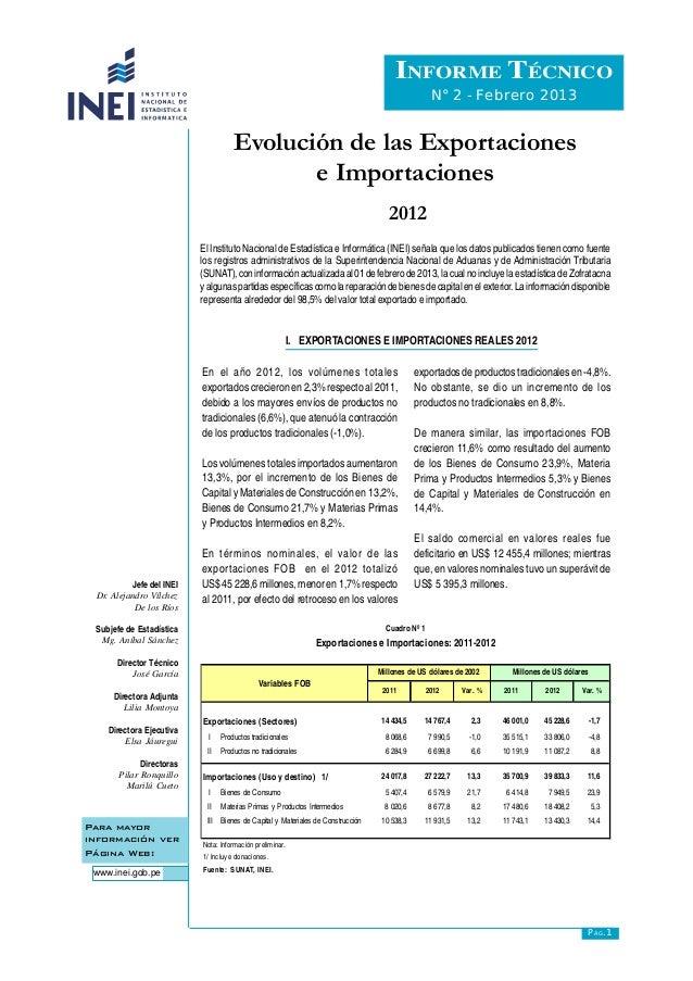 Evolución de las Exportaciones e Importaciones INFORME TÉCNICO N° 2 - Febrero 2013 Para mayor información ver Página Web: ...