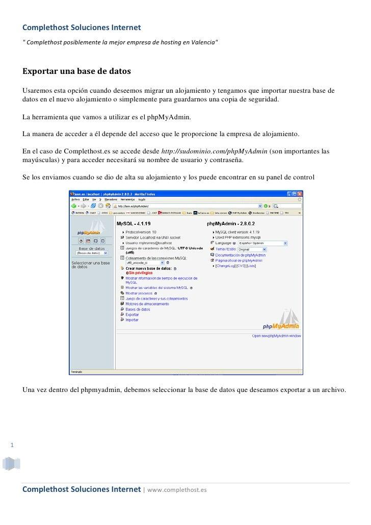 """Complethost Soluciones Internet     """" Complethost posiblemente la mejor empresa de hosting en Valencia""""        Exportar un..."""
