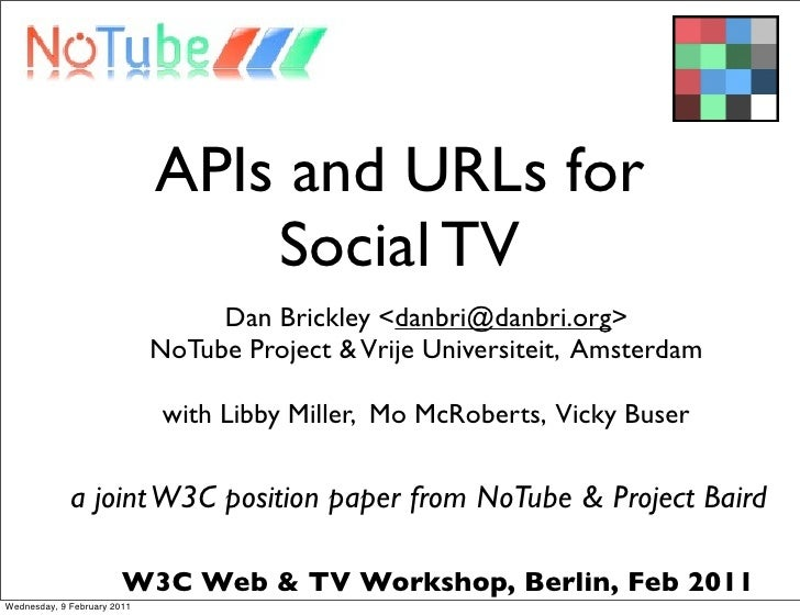 APIs and URLs for                                 Social TV                                  Dan Brickley <danbri@danbri.o...