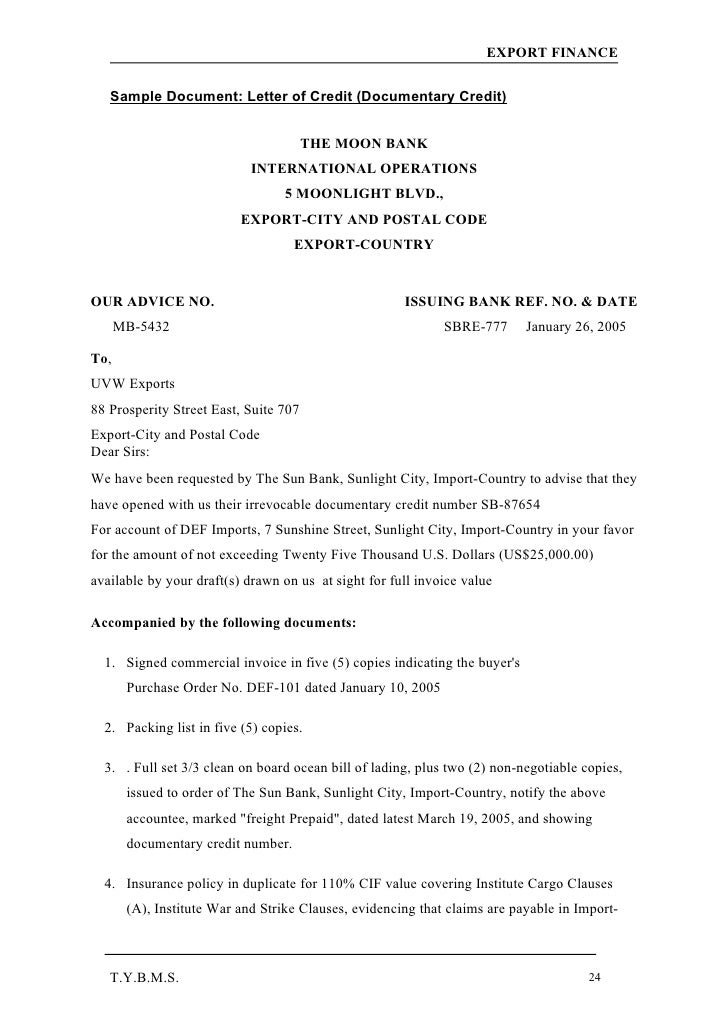 sample letter submit document export finance hdfc bank