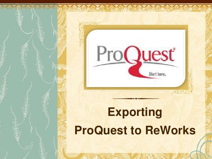 Exporting pro quest to refworks