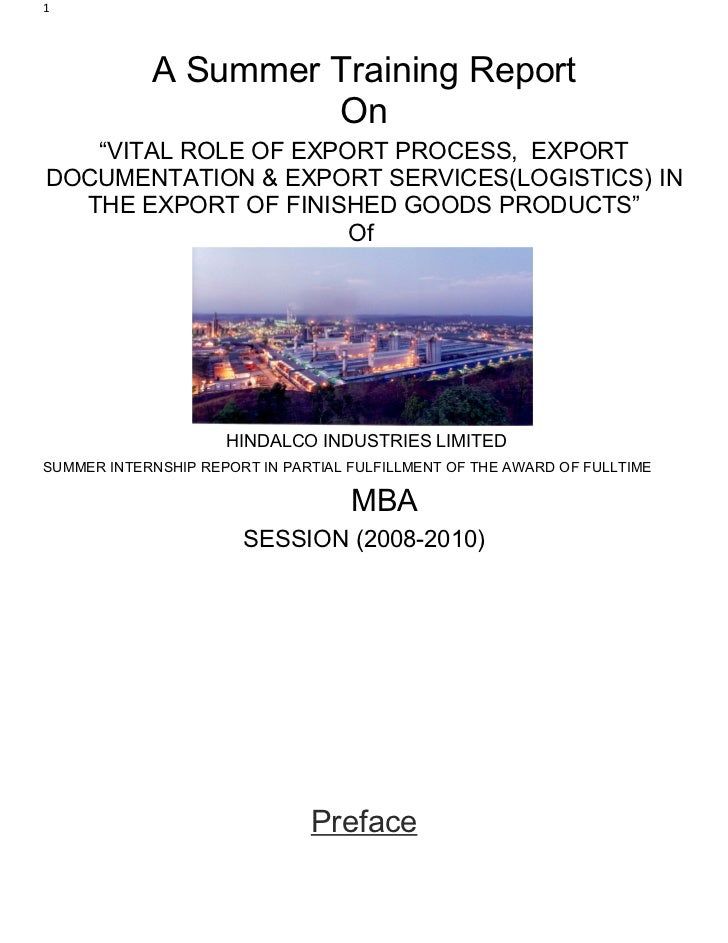"""1            A Summer Training Report                     On   """"VITAL ROLE OF EXPORT PROCESS, EXPORTDOCUMENTATION & EXPORT..."""