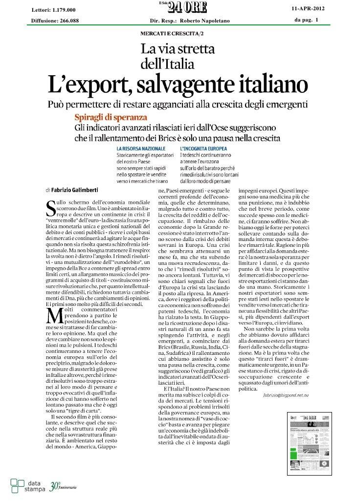 Lettori: 1.179.000                                     11-APR-2012Diffusione: 266.088   Dir. Resp.: Roberto Napoletano   d...