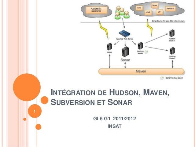 INTÉGRATION DE HUDSON, MAVEN,    SUBVERSION ET SONAR1              GL5 G1_2011/2012                   INSAT