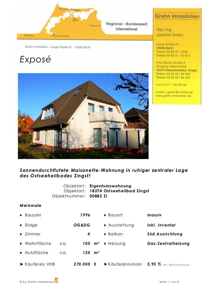ExposéSonnendurchflutete Maisonette-Wohnung in ruhiger zentraler Lagedes Ostseeheilbades Zingst !                       Ob...