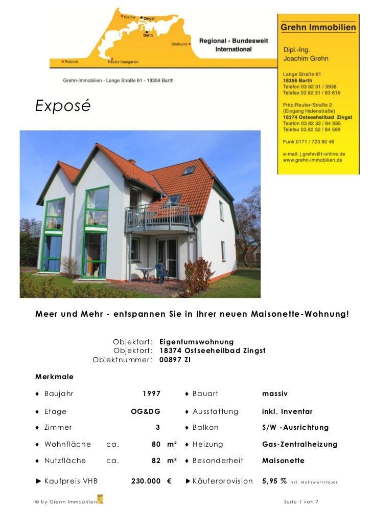 ExposéMeer und Mehr - entspannen Sie in Ihrer neuen Maisonette -Wohnung!                       Objektart:   Eigentumswohnu...