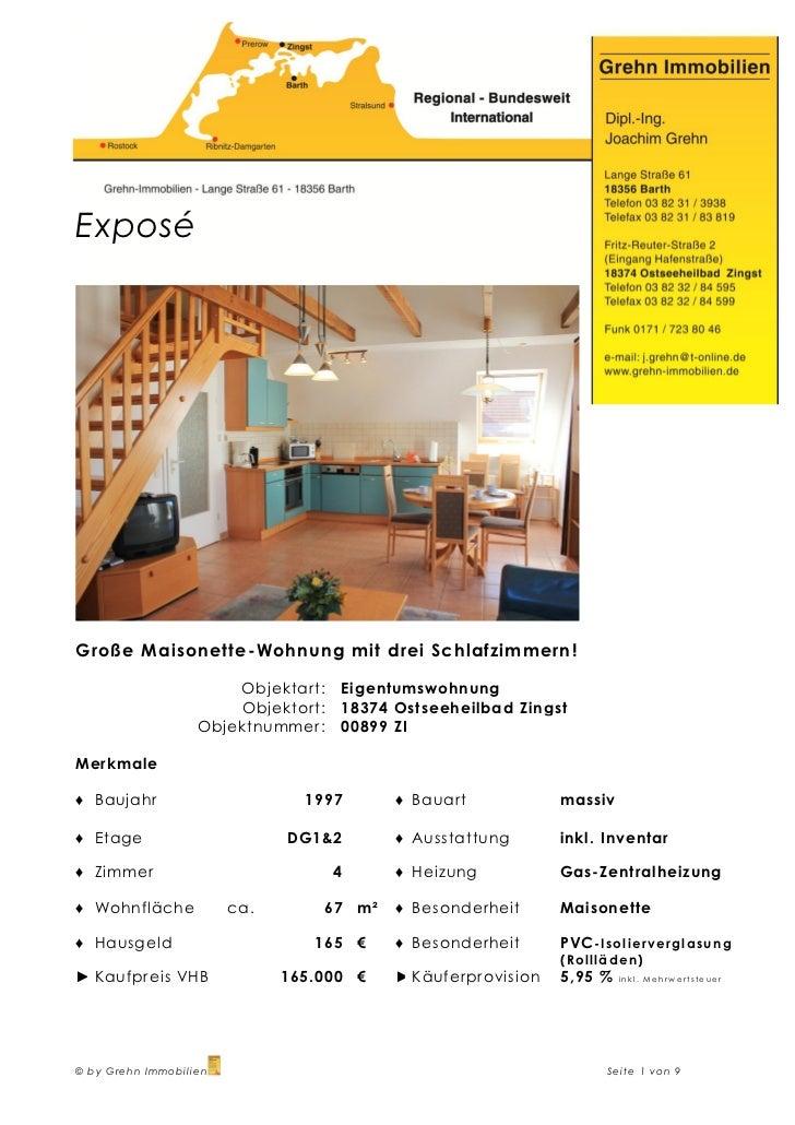 ExposéGroße Maisonette-Wohnung mit drei Schlafzimmern !                       Objektart:   Eigentumswohnung               ...