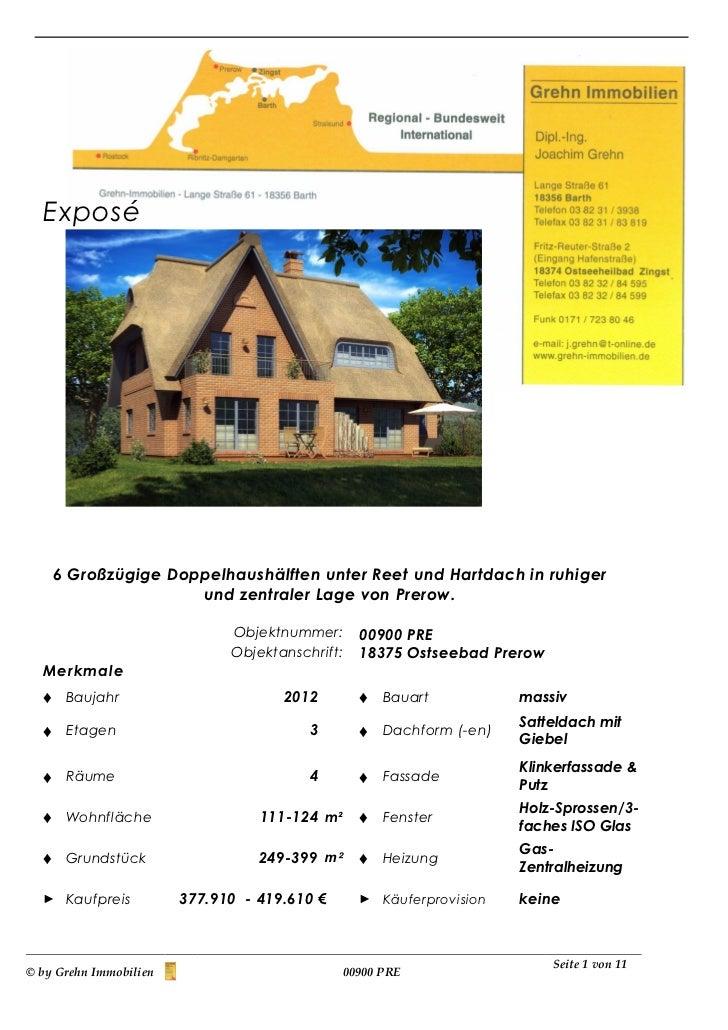 Exposé      6 Großzügige Doppelhaushälften unter Reet und Hartdach in ruhiger                      und zentraler Lage von ...
