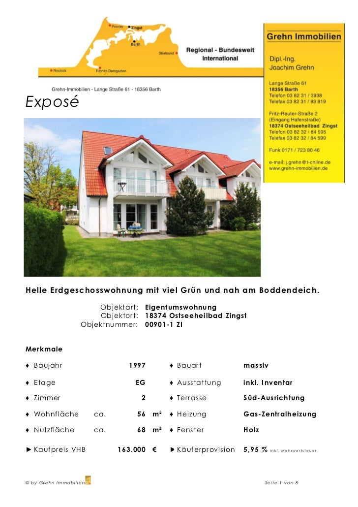 ExposéHelle Erdgeschosswohnung mit viel Grün und nah am Boddendeich.                       Objektart:   Eigentumswohnung  ...