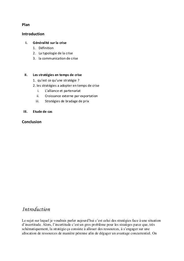 PlanIntroduction   I.   Généralité sur la crise        1. Définition        2. La typologie de la crise        3. la commu...