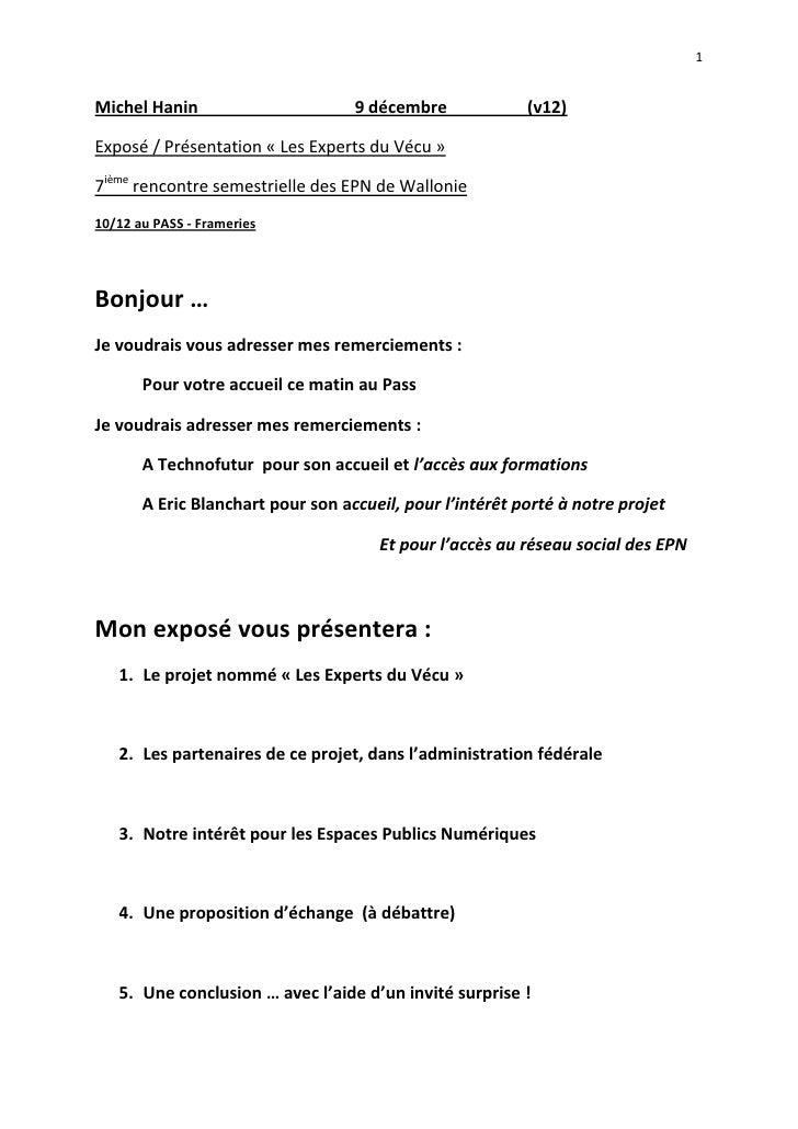 Michel Hanin                                     9 décembre                   (v12)<br />Exposé / Présentation «Les Exper...