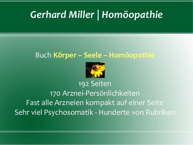 Gerhard Miller | Homöopathie  Buch Körper – Seele – Homöopathie 192 Seiten 170 Arznei-Persönlichkeiten Fast alle Arzneien ...