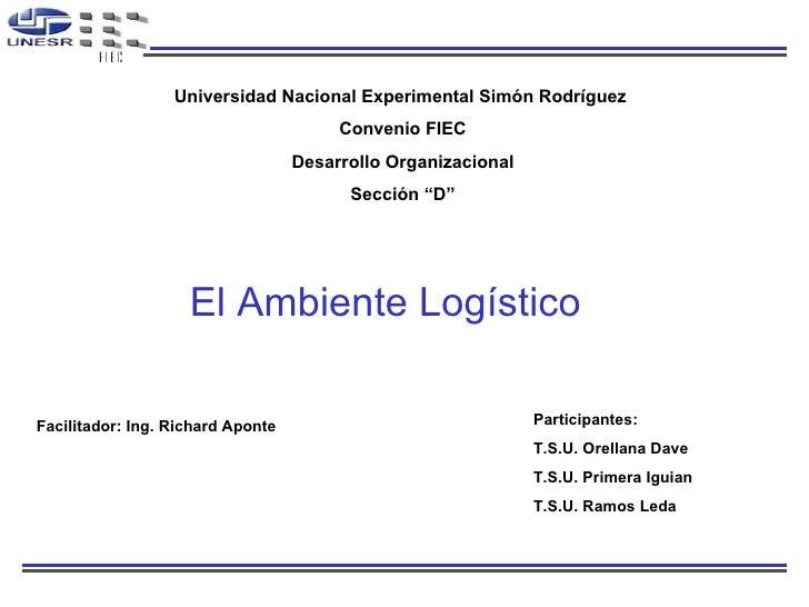 El Ambiente Logístico Facilitador: Ing. Richard Aponte  Participantes: T.S.U. Orellana Dave T.S.U. Primera Iguian T.S.U. R...