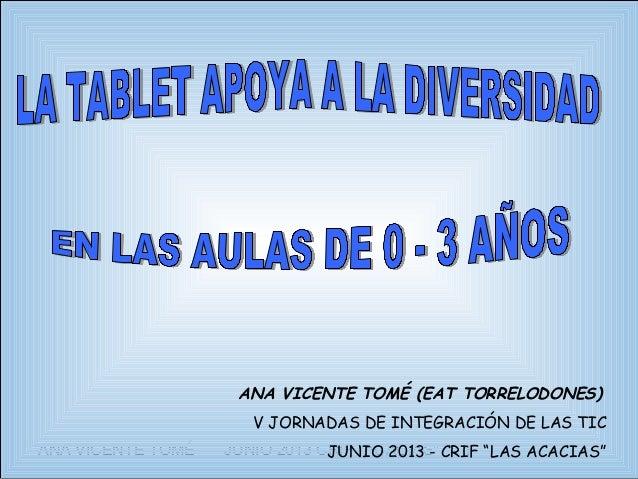 """ANA VICENTE TOMÉ JUNIO 2013 CRIF """"ACACIAS"""" 1ANA VICENTE TOMÉ (EAT TORRELODONES)V JORNADAS DE INTEGRACIÓN DE LAS TICJUNIO 2..."""