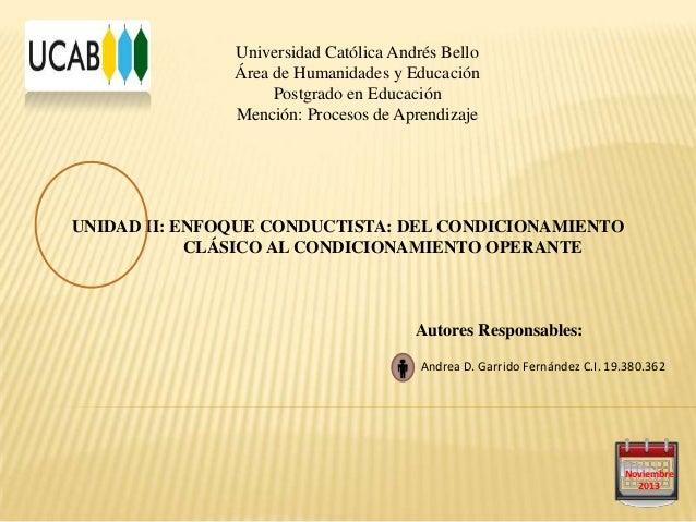 Universidad Católica Andrés Bello Área de Humanidades y Educación Postgrado en Educación Mención: Procesos de Aprendizaje ...