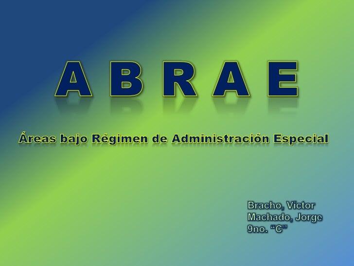 """A B R A E<br />Áreas bajo Régimen de Administración Especial<br />Bracho, Víctor<br />Machado, Jorge<br />9no. """"C""""<br />"""