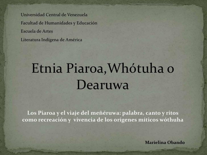 Literatura Indigena: Los  Piaroa