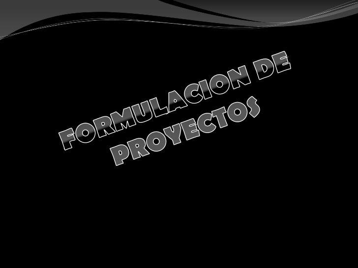 FORMULACION DE PROYECTOS<br />