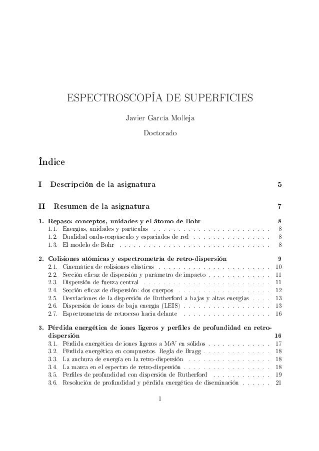 ESPECTROSCOPÍA DE SUPERFICIES                                   Javier García Molleja                                     ...