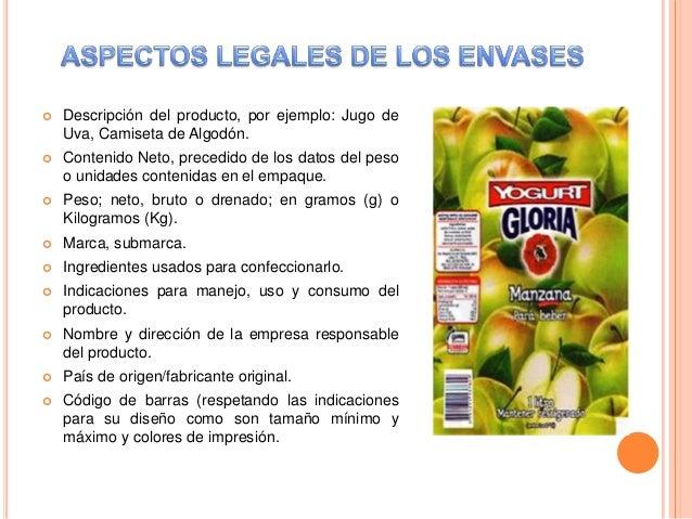 Aspectos legales del empaque - Descripcion del producto ...