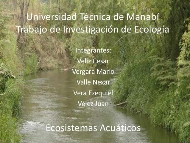 Universidad Técnica de Manabí Trabajo de Investigación de Ecología Integrantes: Veliz Cesar Vergara Mario Valle Nexar Vera...