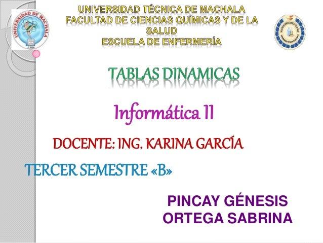 Informática II DOCENTE: ING. KARINAGARCÍA TERCER SEMESTRE «B» PINCAY GÉNESIS ORTEGA SABRINA