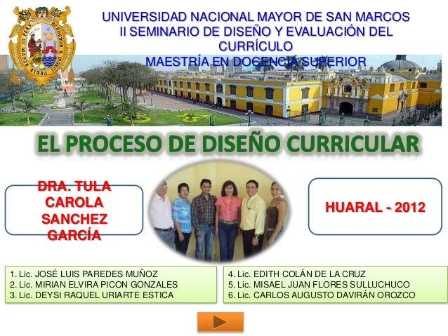 UNIVERSIDAD NACIONAL MAYOR DE SAN MARCOS                     II SEMINARIO DE DISEÑO Y EVALUACIÓN DEL                      ...