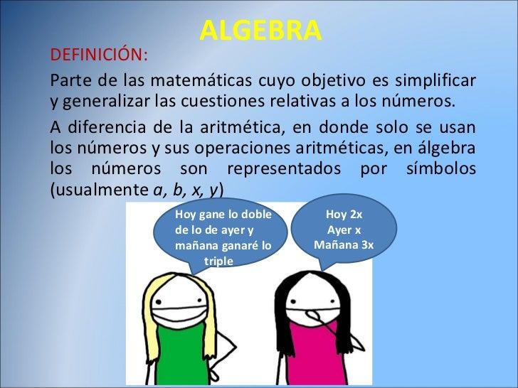 ALGEBRA DEFINICIÓN: Parte de las matemáticas cuyo objetivo es simplificar y generalizar las cuestiones relativas a los núm...
