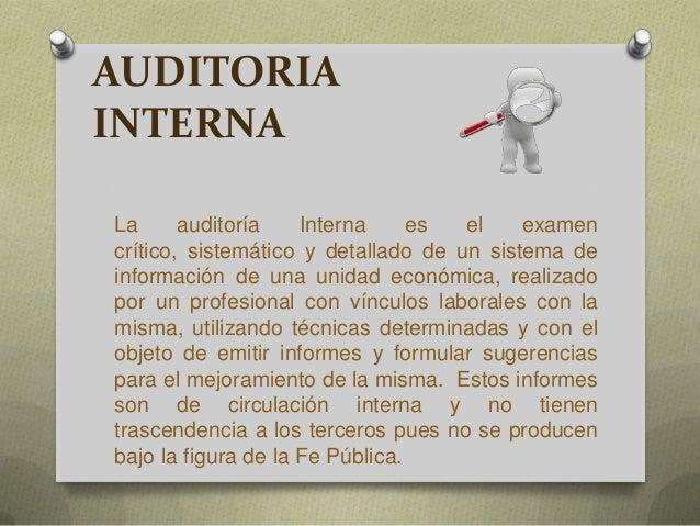 Auditoria Interna Auditoria Interna la Auditoría