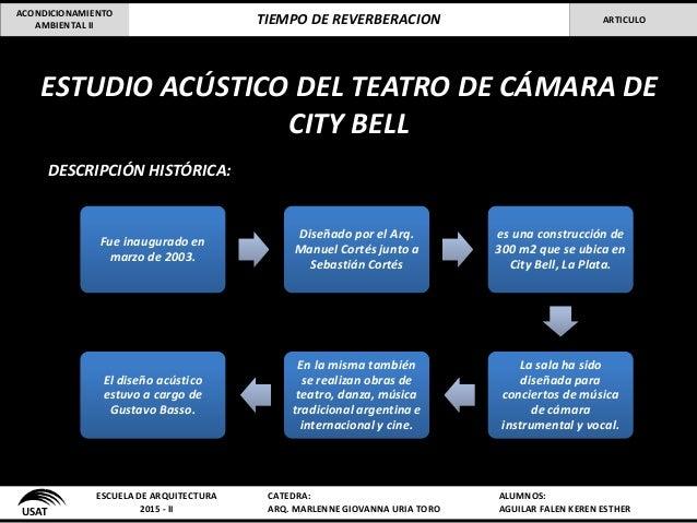 ESTUDIO ACÚSTICO DEL TEATRO DE CÁMARA DE CITY BELL DESCRIPCIÓN HISTÓRICA: USAT ESCUELA DE ARQUITECTURA 2015 - II CATEDRA: ...