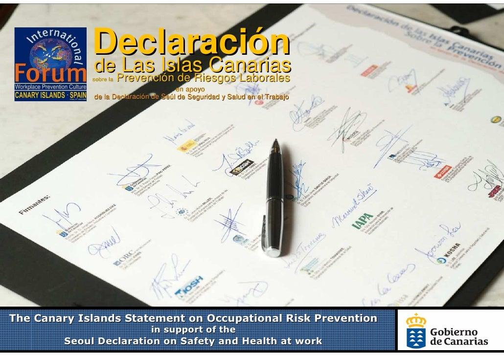 Declaración              de Las Islas Canarias              sobre la   Prevención de Riesgos Laborales                    ...