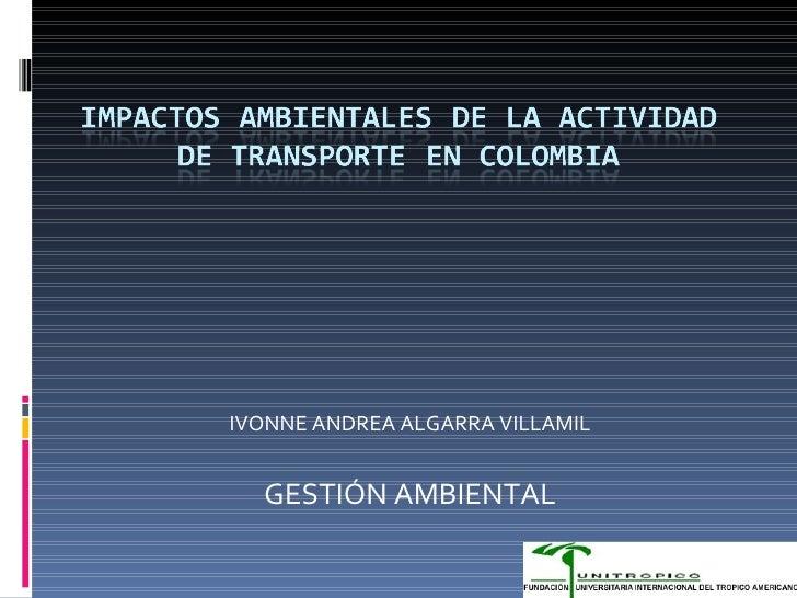 IVONNE ANDREA ALGARRA VILLAMIL GESTIÓN AMBIENTAL