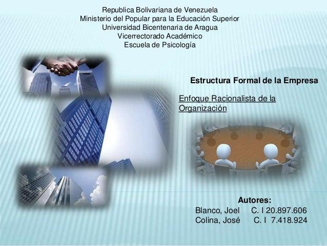 Republica Bolivariana de Venezuela Ministerio del Popular para la Educación Superior Universidad Bicentenaria de Aragua Vi...