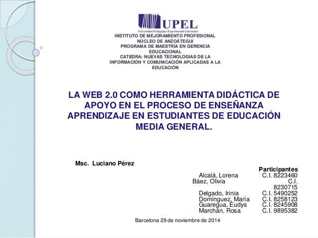 INSTITUTO DE MEJORAMIENTO PROFESIONAL  NÚCLEO DE ANZOÁTEGUI  PROGRAMA DE MAESTRÍA EN GERENCIA  EDUCACIONAL  CATEDRA: NUEVA...