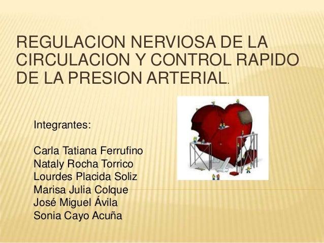 REGULACION NERVIOSA DE LA CIRCULACION Y CONTROL RAPIDO DE LA PRESION ARTERIAL. Integrantes: Carla Tatiana Ferrufino Nataly...