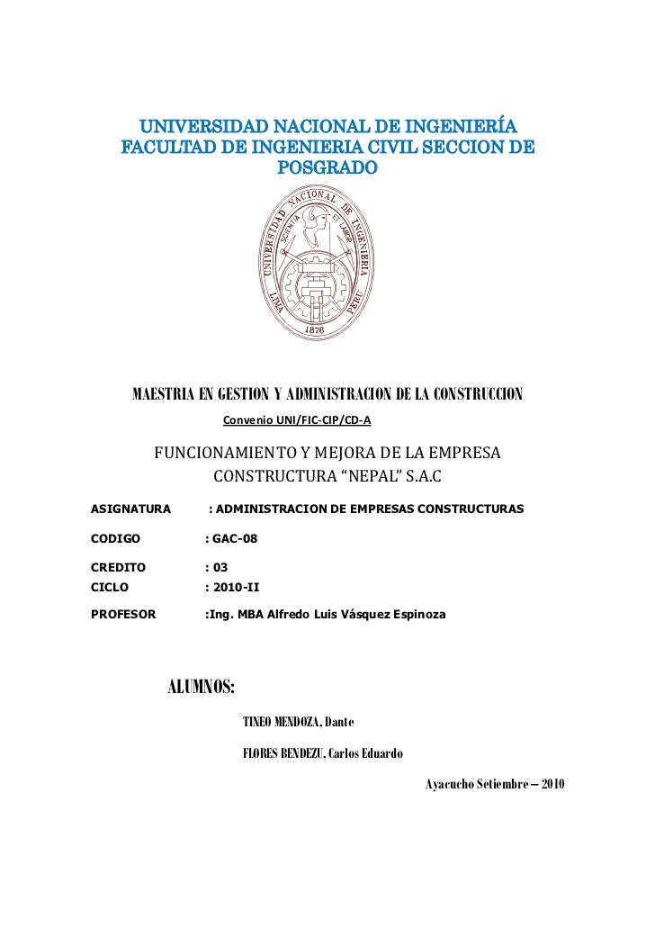 UNIVERSIDAD NACIONAL DE INGENIERÍA    FACULTAD DE INGENIERIA CIVIL SECCION DE                  POSGRADO             MAESTR...