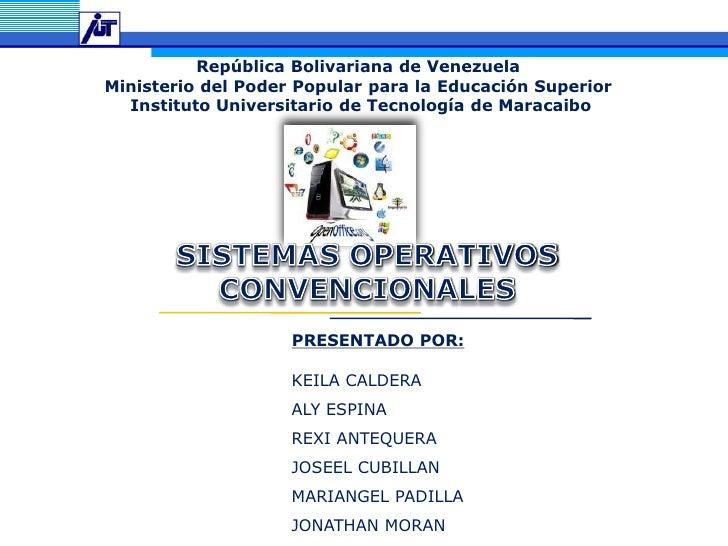 República Bolivariana de Venezuela<br />Ministerio del Poder Popular para la Educación Superior<br /> Instituto Universita...