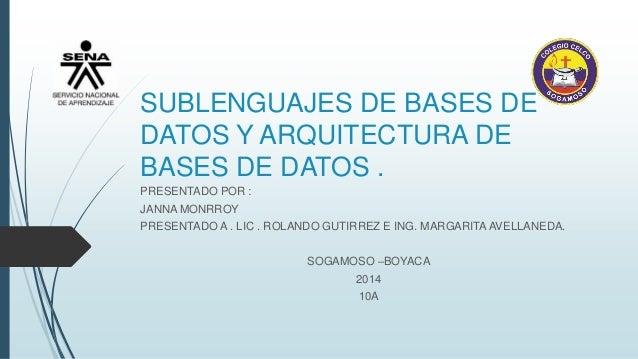 SUBLENGUAJES DE BASES DE DATOS Y ARQUITECTURA DE BASES DE DATOS . PRESENTADO POR : JANNA MONRROY PRESENTADO A . LIC . ROLA...