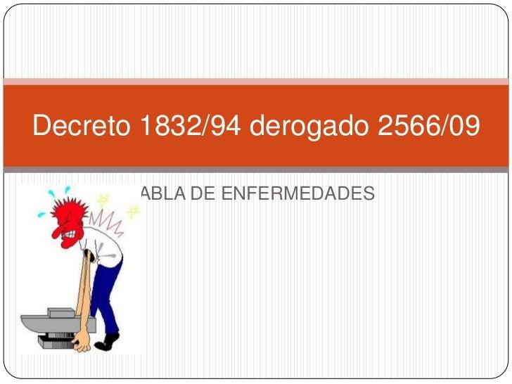 TABLA DE ENFERMEDADES<br />Decreto 1832/94 derogado 2566/09<br />