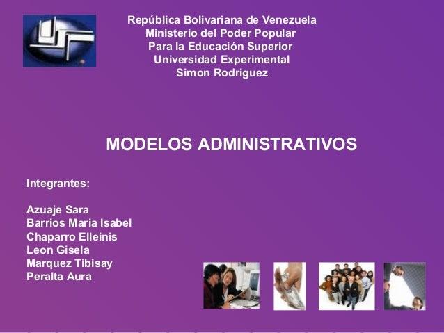 República Bolivariana de Venezuela Ministerio del Poder Popular Para la Educación Superior Universidad Experimental Simon ...