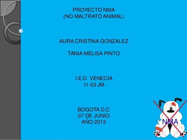 PROYECTO NMA (NO MALTRATO ANIMAL) AURA CRISTINA GONZALEZ TANIA MELISA PINTO I.E.D VENECIA 11-03 JM BOGOTA D.C 07 DE JUNIO ...