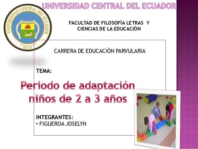 FACULTAD DE FILOSOFÍA LETRAS Y               CIENCIAS DE LA EDUCACIÓN        CARRERA DE EDUCACIÓN PARVULARIATEMA:INTEGRANT...
