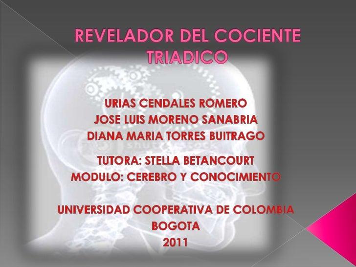 REVELADOR DEL COCIENTE TRIADICO<br />URIAS CENDALES ROMERO<br />JOSE LUIS MORENO SANABRIA<br />DIANA MARIA TORRES BUITRAGO...