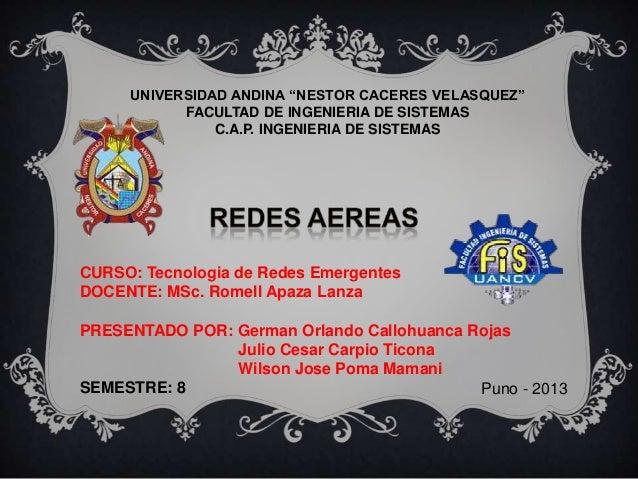 "UNIVERSIDAD ANDINA ""NESTOR CACERES VELASQUEZ"" FACULTAD DE INGENIERIA DE SISTEMAS C.A.P. INGENIERIA DE SISTEMAS  CURSO: Tec..."