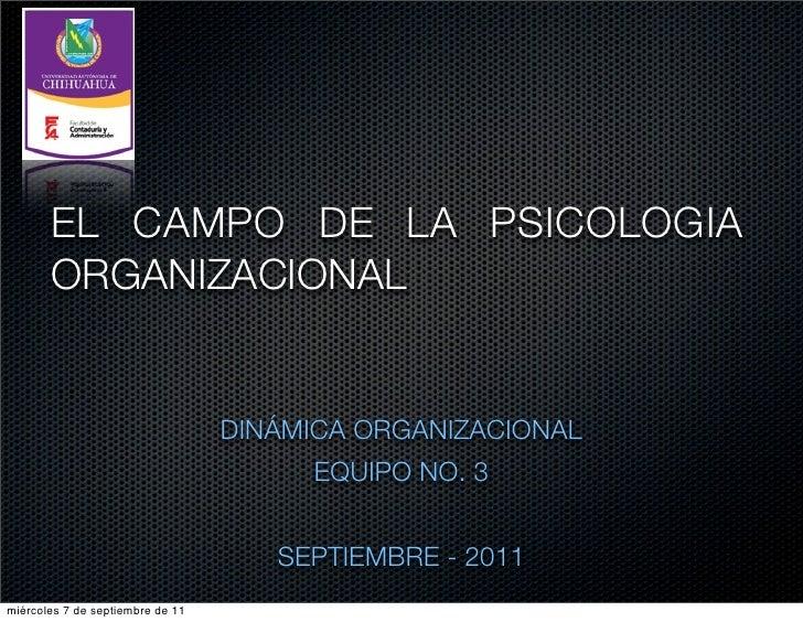 EL CAMPO DE LA PSICOLOGIA       ORGANIZACIONAL                                  DINÁMICA ORGANIZACIONAL                   ...