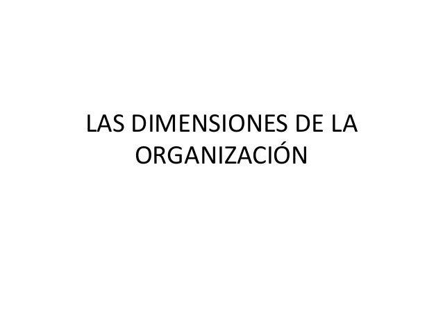 LAS DIMENSIONES DE LA ORGANIZACIÓN