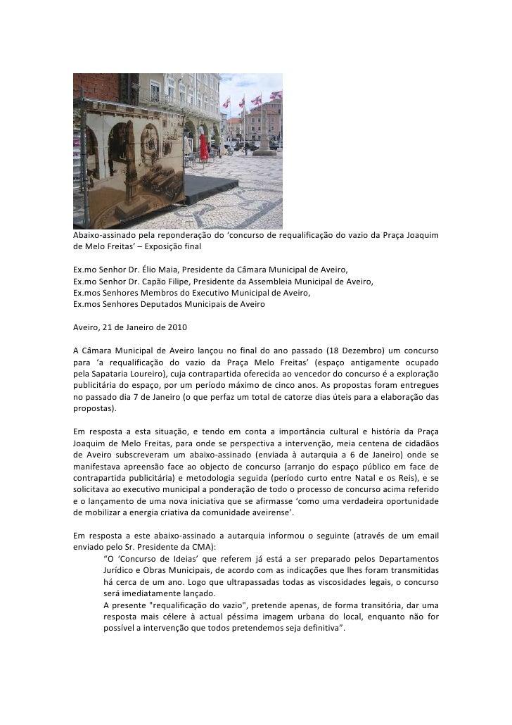 Abaixo-assinado pela reponderação do 'concurso de requalificação do vazio da Praça Joaquim de Melo Freitas' – Exposição fi...