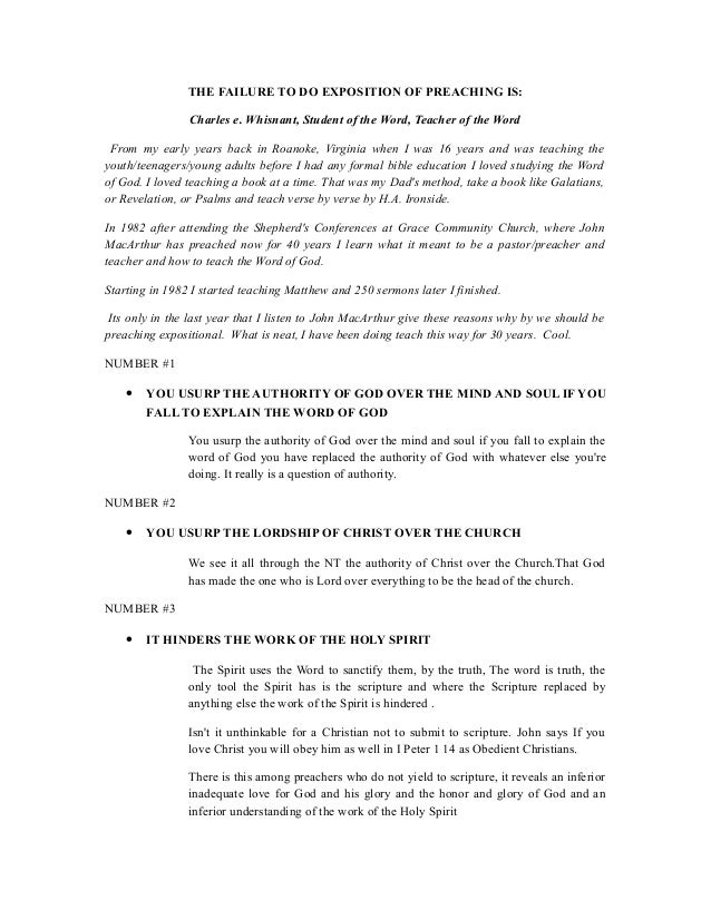 Expositional preaching 19 outline