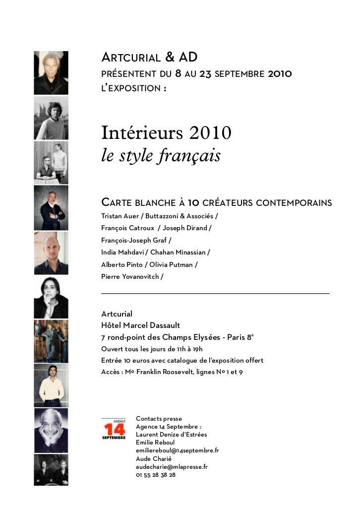ARTCURIAL & ADPRÉSENTENT DU            8 AU 23 SEPTEMBRE 2010L'EXPOSITION        :Intérieurs 2010le style françaisCARTE BL...