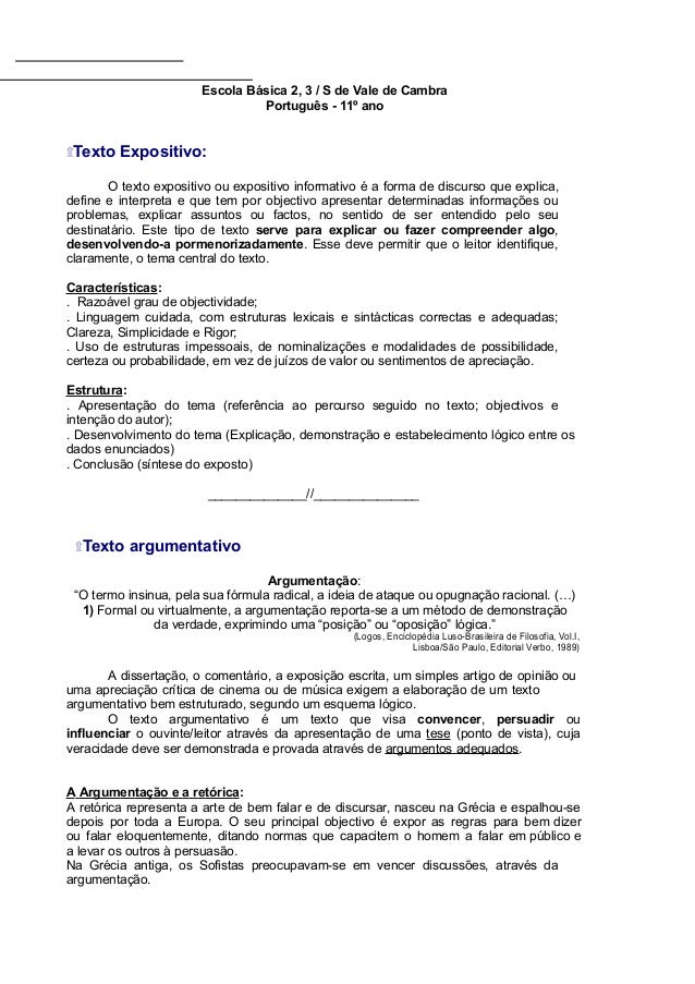 Escola Básica 2, 3 / S de Vale de Cambra Português - 11º ano ۩Texto Expositivo: O texto expositivo ou expositivo informati...
